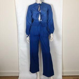 Vintage 70s blue ombré jumpsuit boiler suit XS